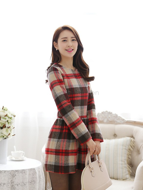 08fd3c470 Get Quotations · 2014 Women Elegant Tartan Red Long Sleeve Plus Size Work Business  Casual Party Dress 10