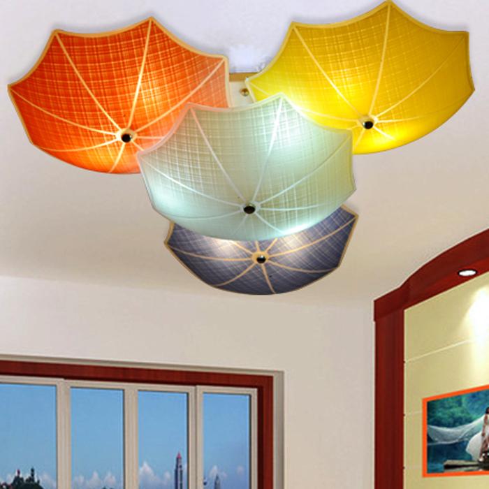 Modern Children Bedroom Ceiling Lamps Multicolour Umbrella Glass Lampshade Kids Room Lights E27
