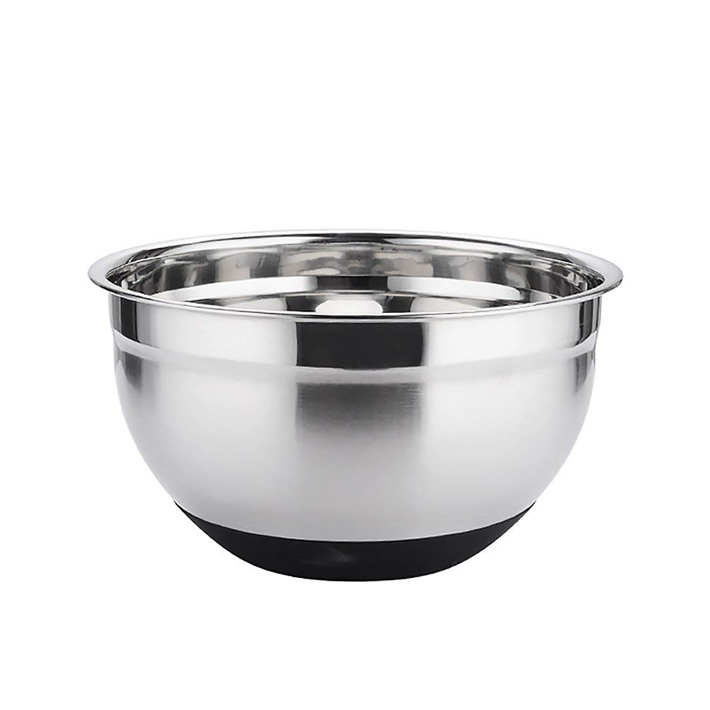 Uarter Mixing Bowl Stainless Steel Dough Mixing Bowls Multi-purpose Nesting Bowl with Non-clip Silicone Base, 8.7'' Diameter, 2.75QT, Silver and Black