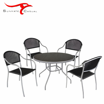 Plastic Injection Molding Cheap Outdoor Rattan Wicker Furniture Garden Restaurant Terrace Round Dining Coffee Table Chair Set