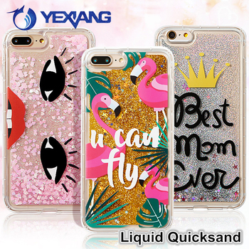 Bling Glitter Flamingo Dynamic Custom Liquid Phone Case For Iphone 7 Plus Shockproof TPU Cover