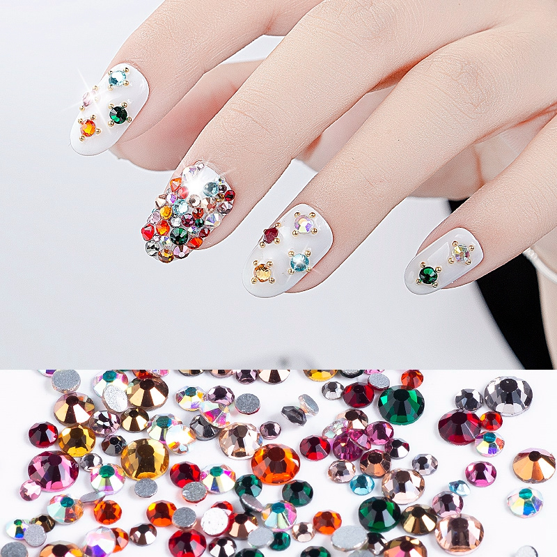 Queen Fingers Bling Mix Colors Flat Back Silver Base Crystal Nail Art Rhinestone