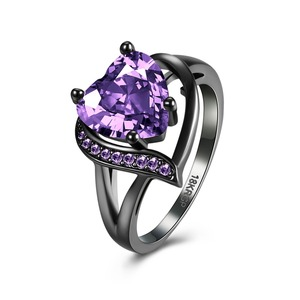 Hottest Selling Factory Supply Smart Heart Cubic Zirconia Purple Birthstone Diamond Black Plated Brass Heart Ring for Women