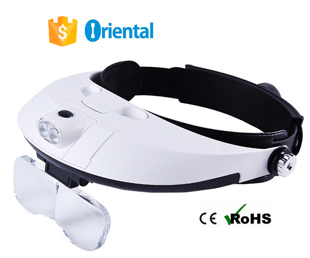 Professional Helmet Magnifier New Product 4 PCB Circuit Boards, Book Reading Glasses Magnifying with 2 LED and 5 Lens Supplier