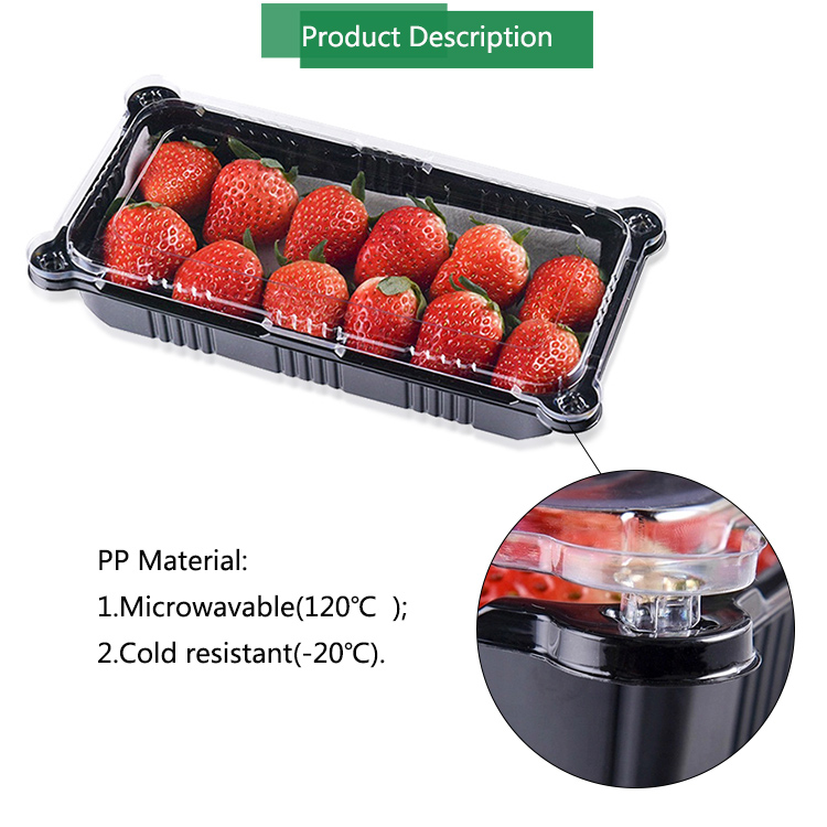 strawberry packing black PP plastic tray for food