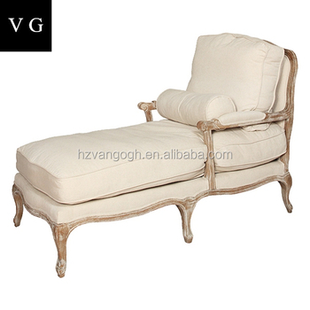 French Country Style Antique Lounge Sofa Chair Woven Rattan Back Wooden Accent