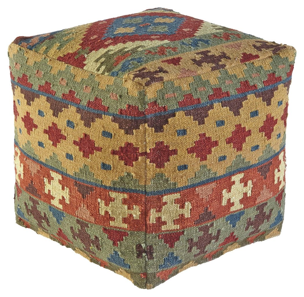 Ashley Furniture Signature Design - Adolfo Pouf - Comfy Chair or Footrest - Multicolored