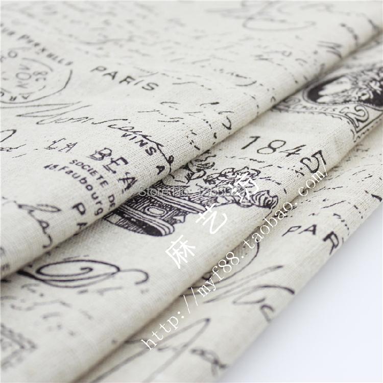 Großhandel Diy Stoff Weinlese Retro Leinengewebe 150x100cm Zeitung