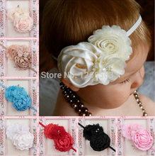 High quality Infant Toddler Baby Headbands Satin Ruffled Flower Headbands Baby Girls Hair Accessories 10Colors