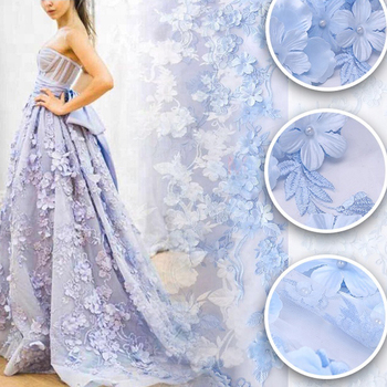 Wholesale embroidered beads fabrics evening dress formal dress pattern royal blue 3d lace