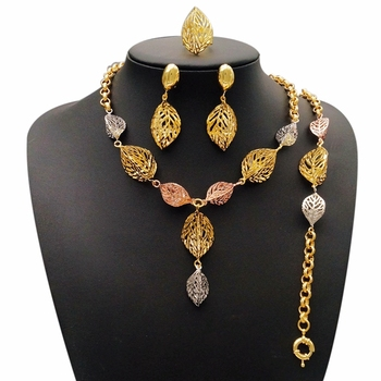 Dubai Gold Plated Jewelry Set Pendants Charms Costume Jewellery Set