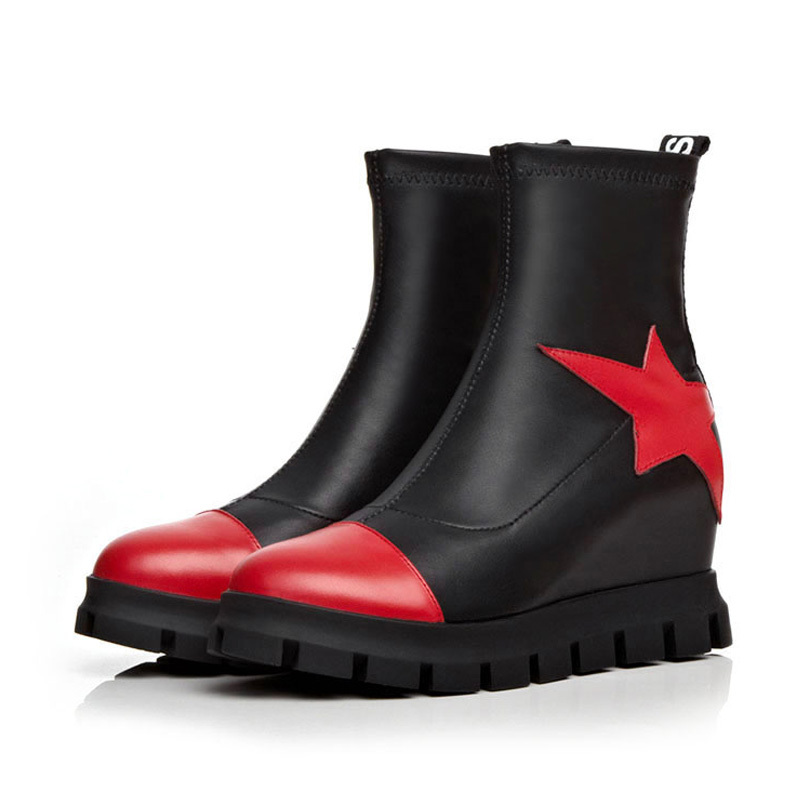 1c7be207415b Get Quotations · 2015 Genuine leather Height Increasing Winter boots  Size(34-39) Red color Flat