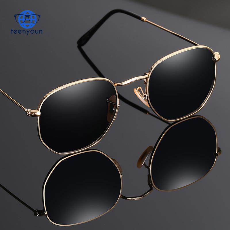Vintage Merk Designer Zeshoekige Zonnebril Vrouwen Mannen Retro Rijden Spiegel Zonnebril Vrouwelijke Mannelijke Fashion Zonnebril UV400 Nieuwe