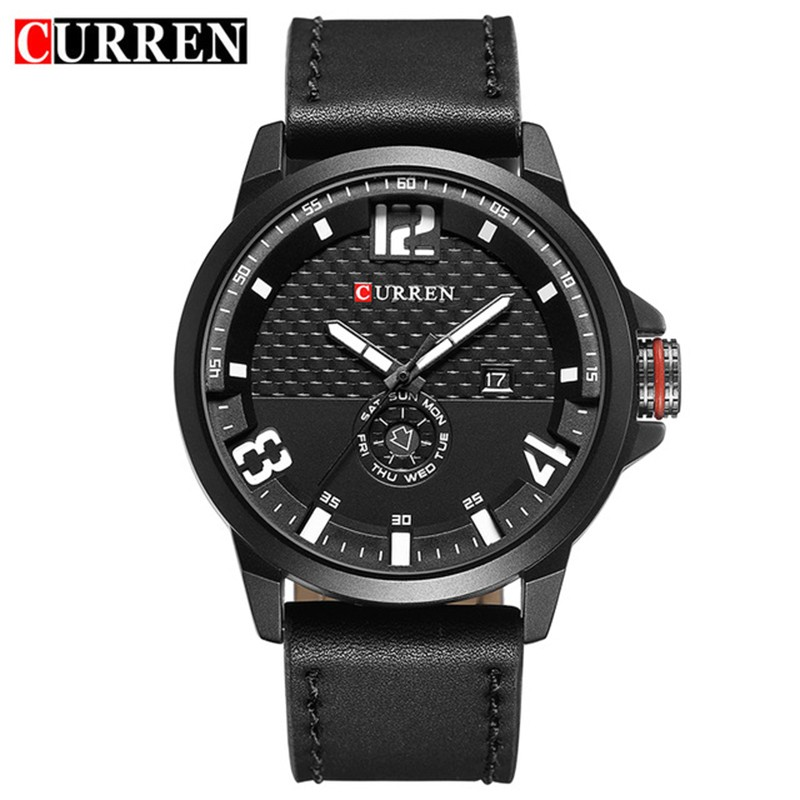 2018 Hot Watches Men Business Leather Strap Date Analog Male Military Curren Luxury Brand Japan Movement Quartz Sports Watch