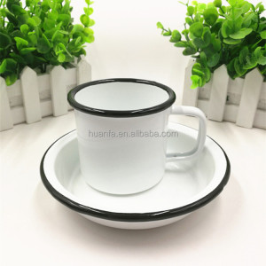 Factory direct sell metal enamel mug 8cm camping mug and enamel dish plates for kids