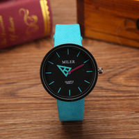 MILER 8589 Cheap Factory Price Colorful Leather Band Alloy Case Simple Design Watches For The Teenagers