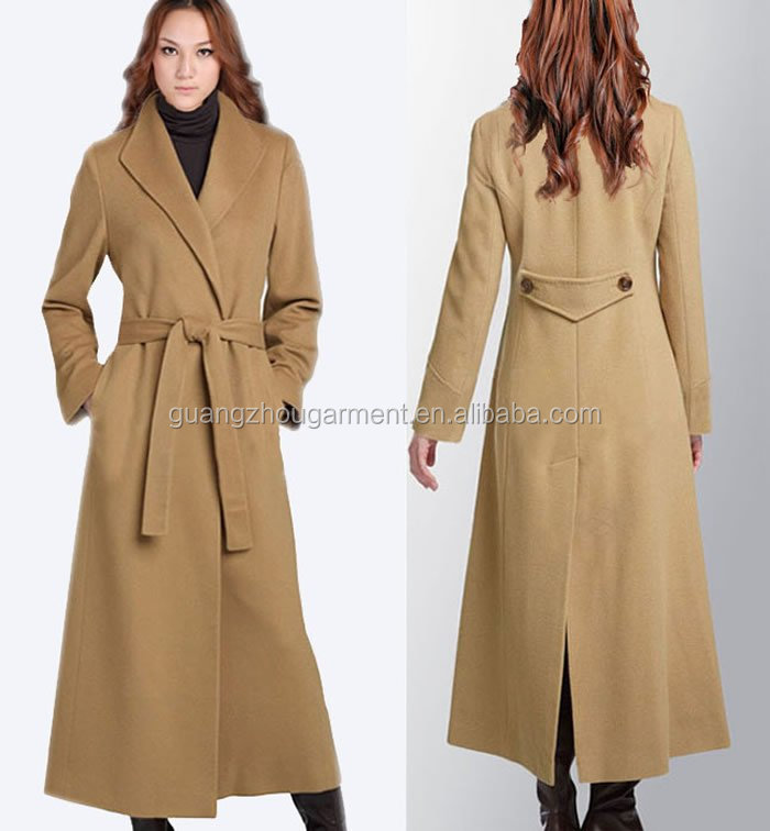 Women Slim Wool Blend Long Coat Woolen Trench Long Sleeve Full