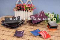 Ceramic rectangle and square color glazed ceramic brand soup bowl and plate dinner set