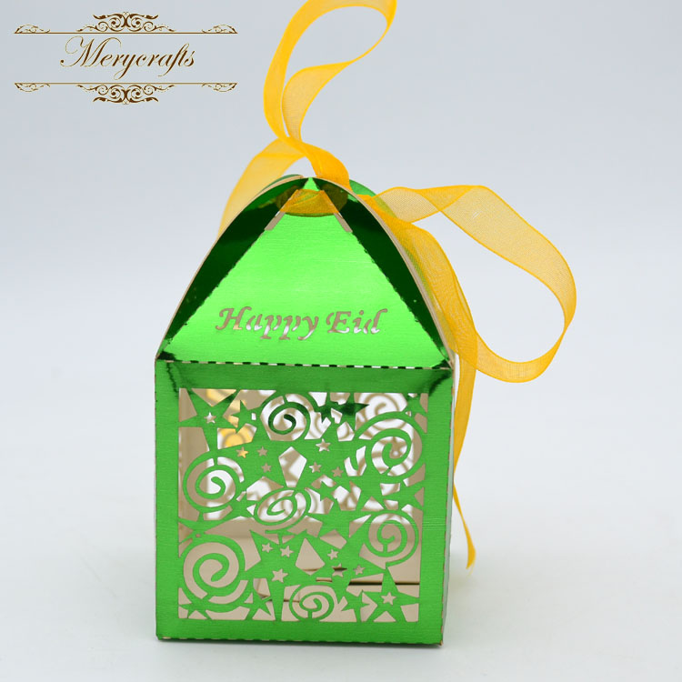 2017 best sale party supplies love stars Happy Eid laser cut ramadan favor box