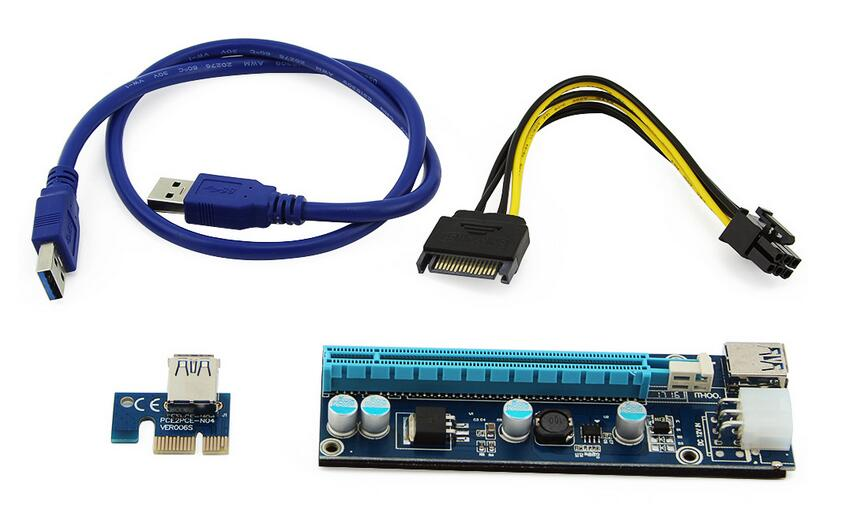 Bitcoin Miner Riser PCI-E PCI-E Express 1X to 16X Graphics Card Riser USB 3.0 SATA to 6Pin Power Supply Latest VER 006C