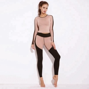 Ladies Long Sleeve Mesh Sports Wear 2 piece Yoga Sets For Women 2018
