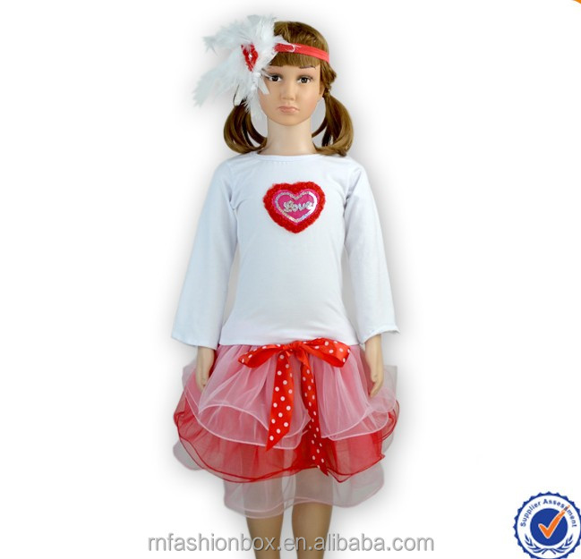 Little Girls Valentine's Day Heart Shape Chiffon Tutu Skirt Lovely Kids Persnickety Remake Causual Outfit Girl Boutique Clothing