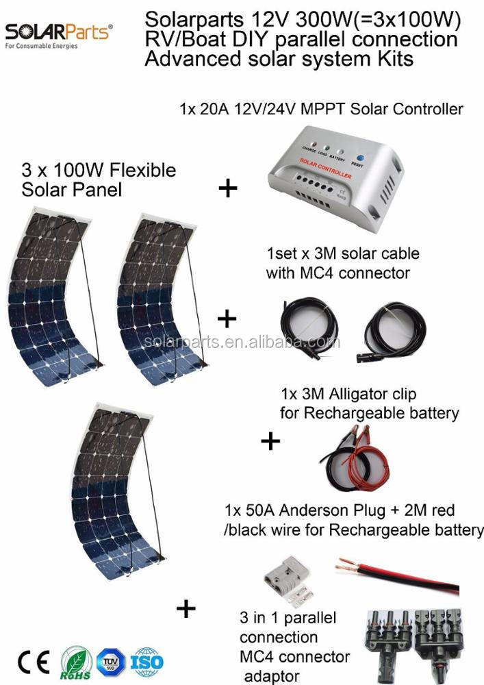 Solarparts 300W DIY RV/Marine Kits Solar <strong>System</strong> 3x100W flexible solar panel 12V, 1 x 20A MPPT solar controller set cables cheap.