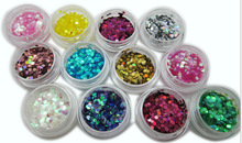Nail art glitter small circular sequins 12colors velvet polish Powder polish uf-gel tinsel Nail glitter