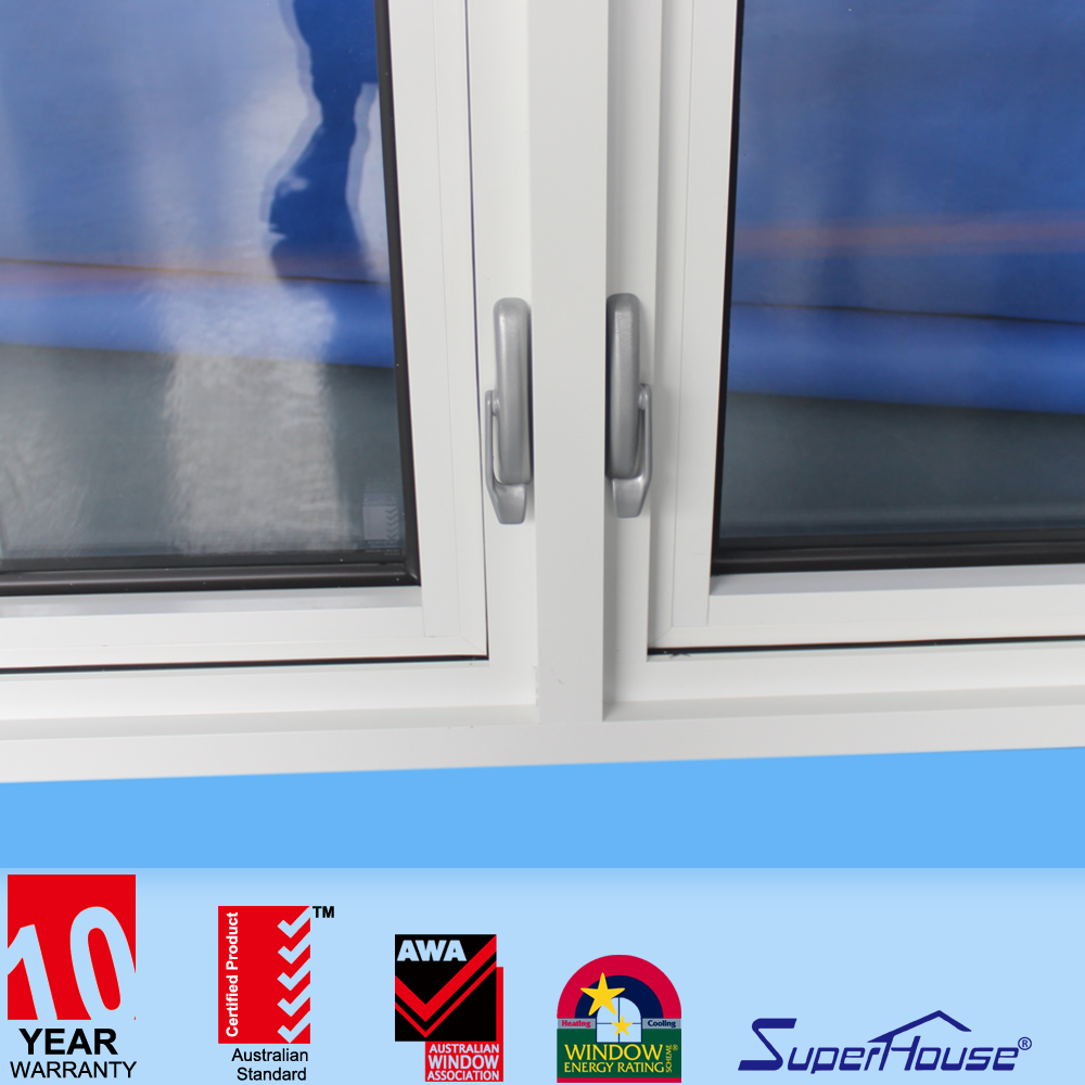 American style chain winder open window aluminum casement window with colonial bars supplier