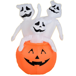 Wholesale Halloween decoration toy pumpkin zombie lights giant inflatable pumpkin for party bar