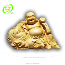 China natural wood hand carved laughing buddha statue sculpture gift&decoration