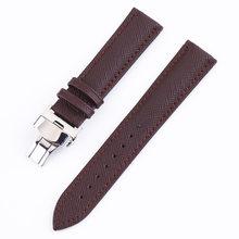 Кожаный ремешок для часов для мужчин и женщин, автоматический двойной пресс с пряжкой-бабочкой, 12 мм, 14 мм, 16 мм, 18 мм, 20 мм, 22 мм, 24 мм(Китай)