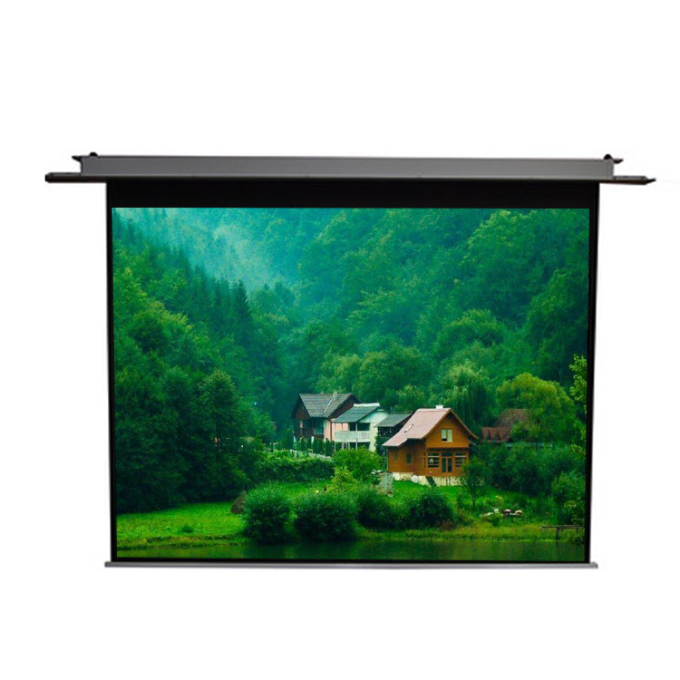 Home theater ceiling mount motorized projector screen 100 inch 16:9, White;transparent;black;grey