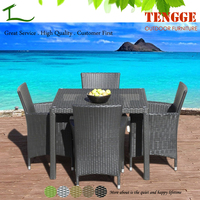 Outdoor Patio Wicker Furniture New All Weather Resin 5-Piece Dining Table & Chair Set