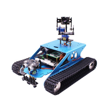 Yahboom blue G1 wifi video aluminum alloy rover robot car kit tank car cross country mobile robot with camera for Raspberry PI