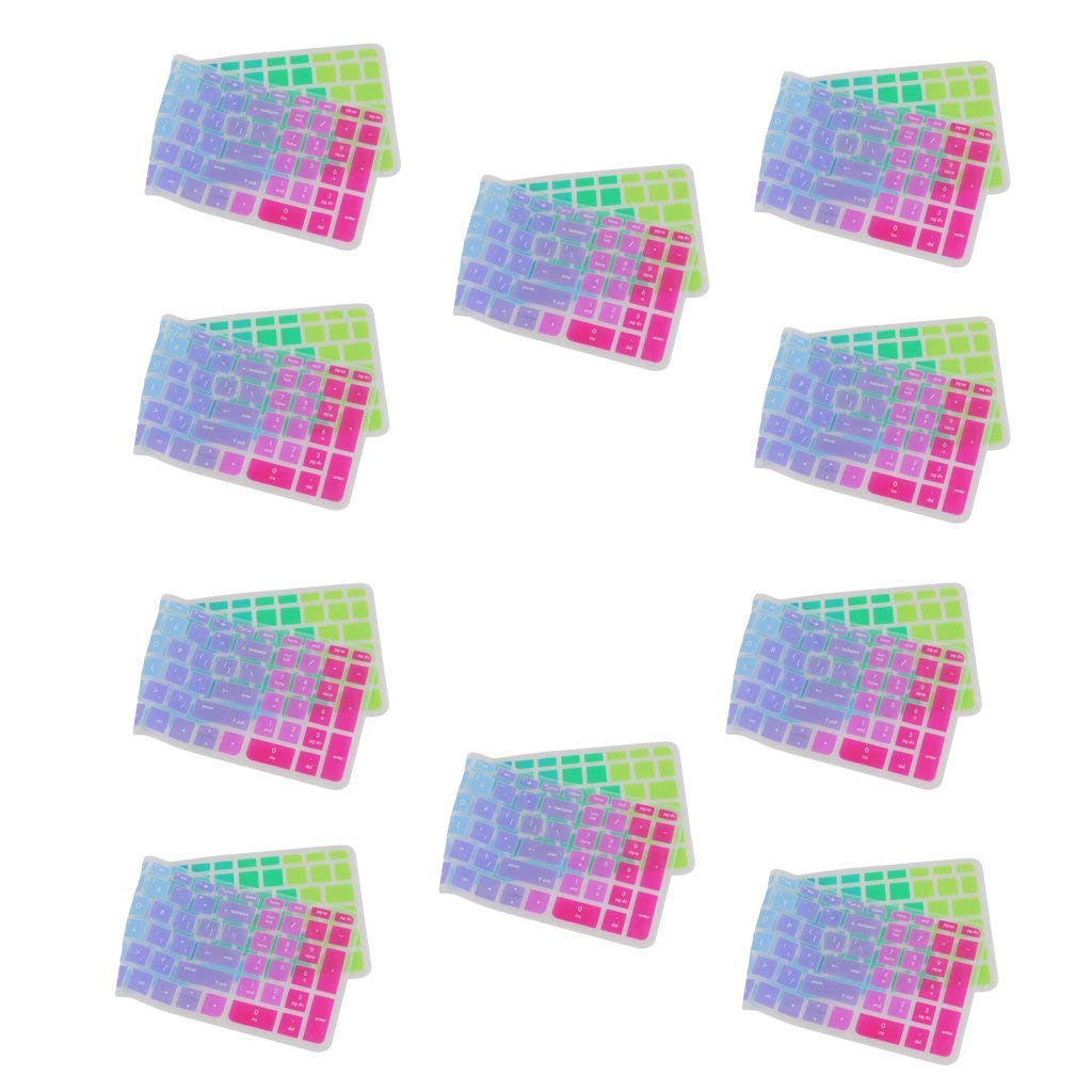 MagiDeal Pack of 10 Silicone Keyboard SKin Cover Guard Film Protector Colorful for HP Pavilion 15inch