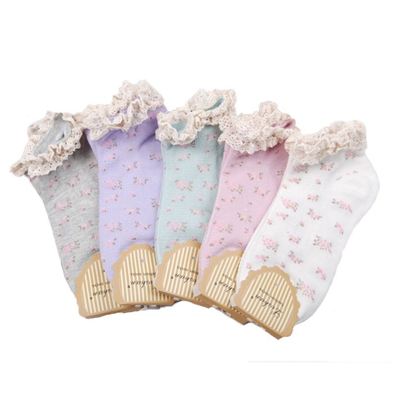 2015 Fashion Spring Cotton Socks Women Summer Lace Floral Summer Fashion Brand Sock Women Good Quality 5pairs/lot