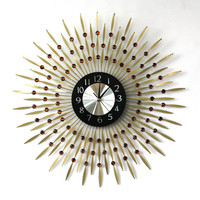 Round crystal metal quartz wall clock with gold metal for living room