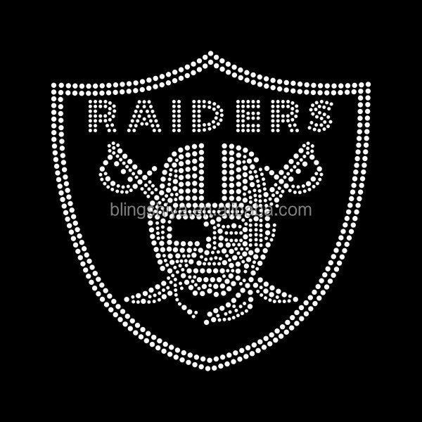 Beautiful raiders rhinestone hotfix transfer iron on for mens T-shirts