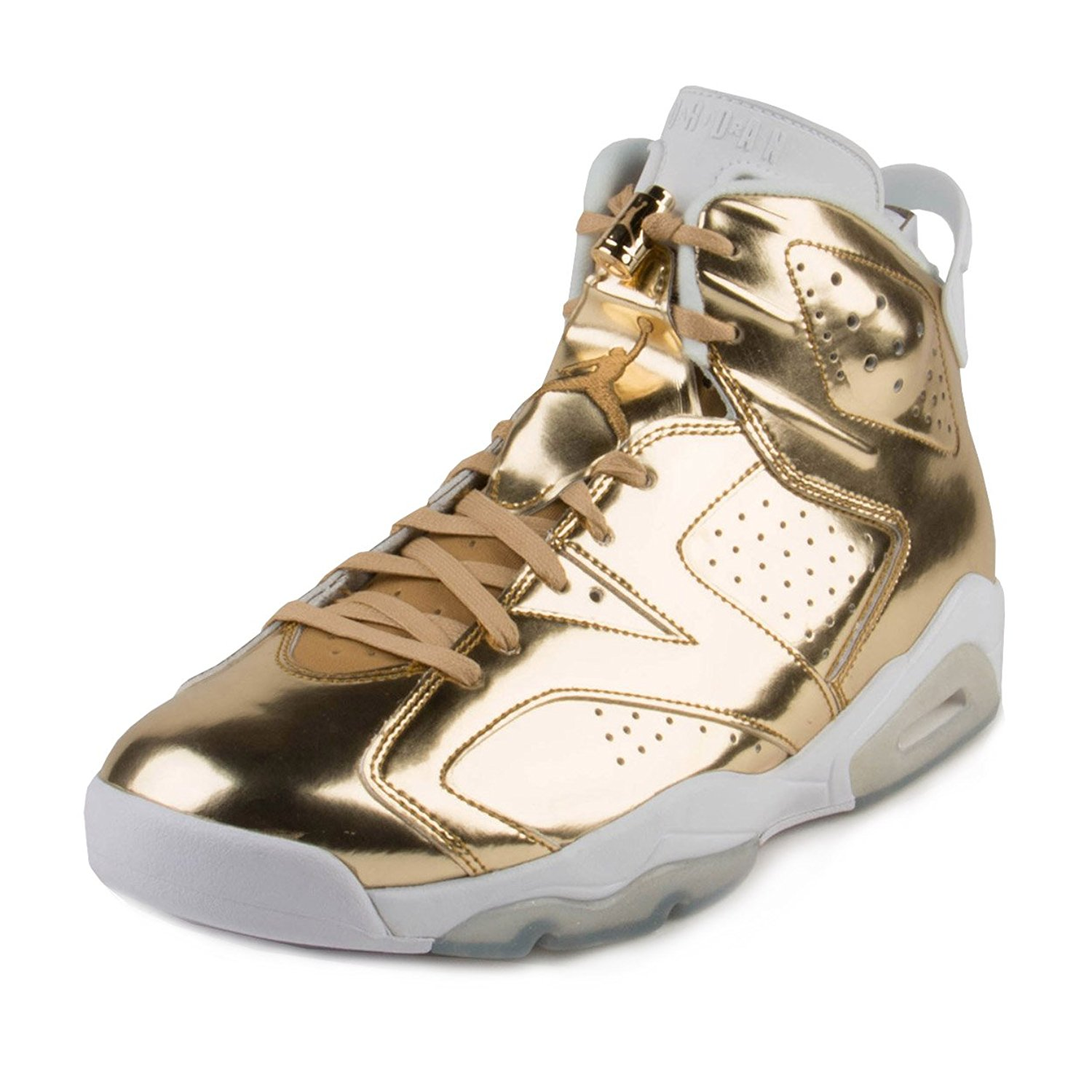 Nike Mens Air Jordan 6 Retro Pinnacle Metallic Gold/White Leather