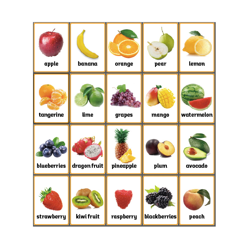 20pcs Set Fruits English Flash Card A4 Poster Classroom Wall Decoration Educational Toys For Children Kids Games Teaching Aids Aliexpress