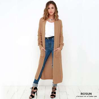 Long Sleeve Brown Winter Knit Pattern Maxi Cardigan Buy Maxi