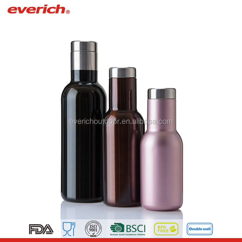 Everich double wall stainless steel vacuum insulated thermo wine /beer bottle