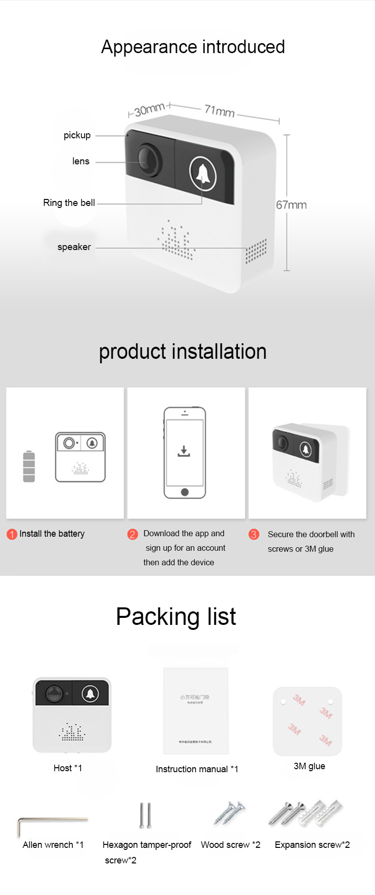 Wholesale PIR  camera  night vision small square intelligent wifi wireless ring video doorbell