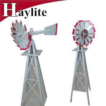 8FT Gray Metal Garden Decorative Windmill