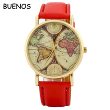 Vogue World Map Dial Men's Strap Watch Leather Female Student Quartz Wrist Watch