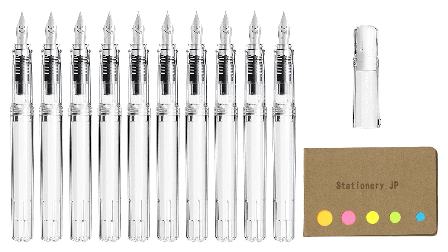 Pilot Kakuno Fountain Pen, Extra Fine Nib, Clear Body, 10-pack, Sticky Notes Value Set