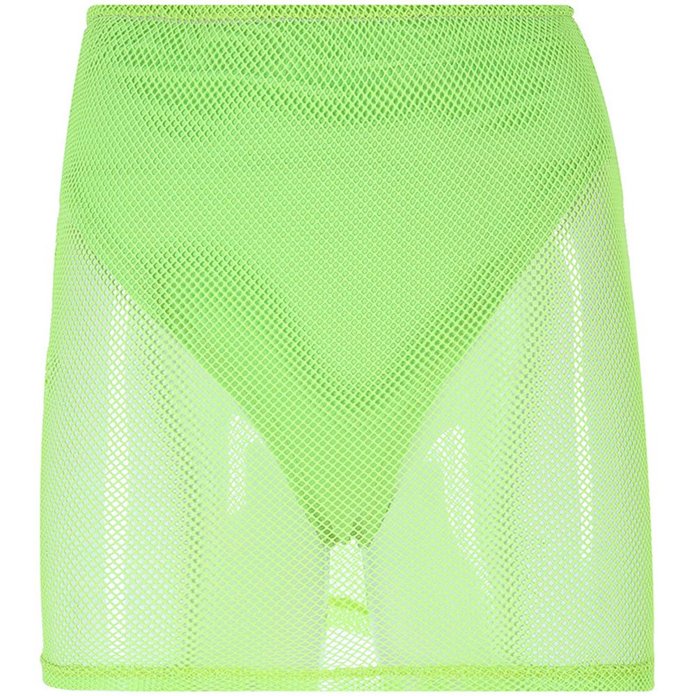 Комплект из 2 предметов для женщин, сетчатые мини-юбки в сеточку, короткая рубашка с длинными рукавами, летние наряды, костюм, прозрачный(Китай)