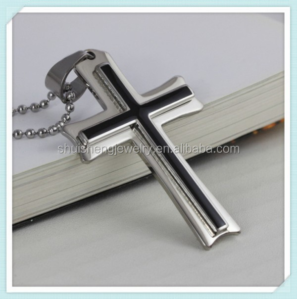 Factory direct price stainless steel mens fashion silver catholic cross necklace with black epoxy