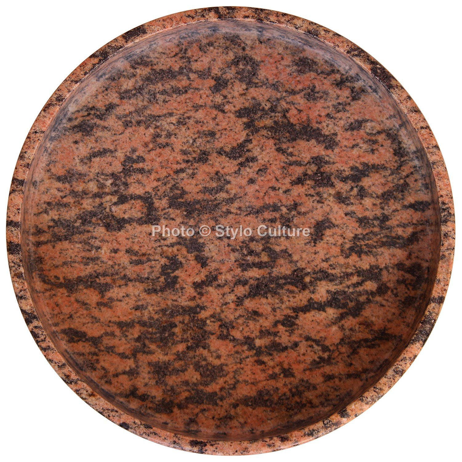 Stylo Culture Round Red Granite Stone Tray Unjoined Piece Petite Multipurpose Utility Bathroom Vanity Tray Scented Candle Base Perfume Tray Soap Bar Tray (4x20 cm) By